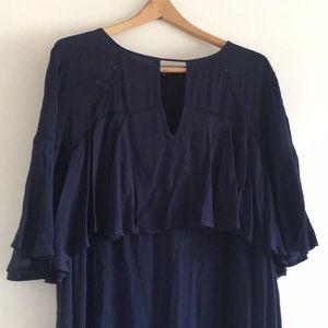 Navy Blue Butterfly Sleeve Shift Dress
